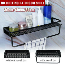 No Drilling Aluminum Wall Mounted Bathroom Shelf Holder Kitchen Rack Bar Shower