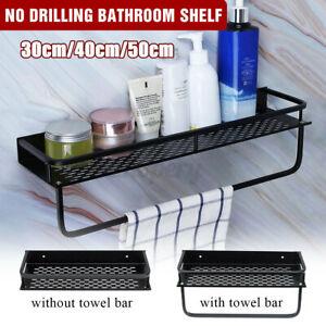 No Drilling Aluminum Wall Mounted Bathroom Shelf Holder Kitchen Rack Bar Shower