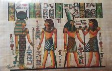 Egyptian Painting Papyrus Paper Authentic Isis,Horus and key of life art/history
