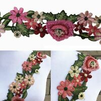 1 Yard Flower Leaves Lace Trim Ribbon Applique Embroidered Sewing Craft DIY ~UK