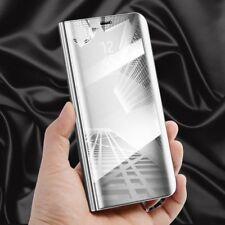 para Huawei Y6 2018 Transparente Ver Smart Funda PLATA BOLSA Wake Up Protectora
