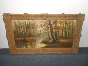 Very old oil painting,{ , Piet Bouter 1887 - 1968, Woodslandscape, is antique }.