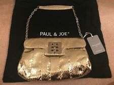 *BNWT* PAUL & JOE GOLD FAUX PYTHON LEATHER SHOULDER SILVER CHAIN 'ANGEL' BAG