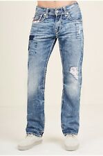 True Religion BRAND JEANS BANDANA RIPPED PATCH STRAIGHT JEAN size 34 $349