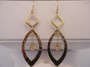 Beautiful Estate 14K Yellow Gold Handmade Citrine Drop Earrings