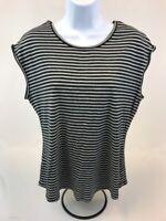 Tommy Bahama Women's Black/Gray Striped Short Cap Sleeve T-Shirt Sz M