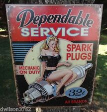 Vintage Auto Parts Store Display Tin Metal Sign Pin Up Girl Garage Shop Picture