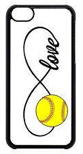 iPhone 4s 5 5s 5c 6 6+ Softball White Infinity Forever Love Black Cover Case