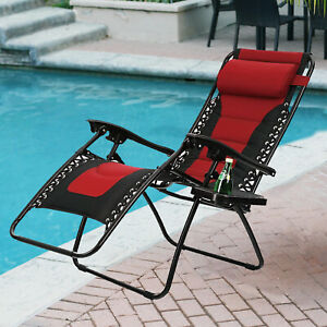 Zero Gravity Chairs Lounger Folding Recliner Chairs Beach Outdoor w/ Cup Holder