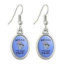 Relax I've Goat This Got Funny Humor Novelty Dangling Drop Oval Charm Earrings