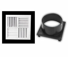 """4Way Multi Vent MDO Aircon Heating Cooling vents size B Square+12"""" Neck adaptor"""