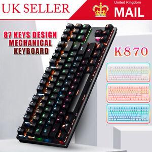 Mechanical Gaming Keyboard USB Wired 87 Keys RGB LED Backlit Keypad Black
