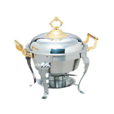 Thunder Group 5 Qt Half Size Stainless Steel Deluxe Chafer w/ Brass Handle