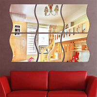 6 Pcs 3D Wave Acrylic Mirror DIY Wall Sticker Art Mural Home Decor Removable UK