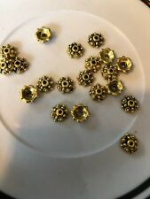 20 7mm Gold Daisy Bead Cap Bali Style Pewter Beads SALE #17