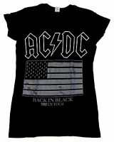 AC/DC Back In Black T-shirt ACDC Flag 1980 US Tour Rock Tee JUNIORS Women New