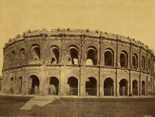 Photo Albuminé Les Arènes de Nimes Vers 1880
