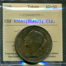1856 One Penny Bouket N.S. Canada Token certified ICCS AU-50 BR# 875; Cld.