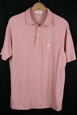 Men's JOHNNIE O West Coast Prep Golf Polo Shirt Pink White Striped sz Large