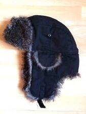 JULES - Chapka bonnet à oreilles noir, fausse fourrure - Taille unique