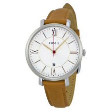 Fossil Jacqueline Silver Dial Tan Leather Ladies Watch ES3737