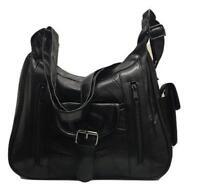 Women Ladies Real Leather Organiser Multi Pocket Shoulder Bag Handbag Satchel