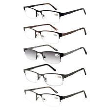 5PAIRS Quality +2.50 Semi-Rimless 2.5 Black Reading Glasses Spring Hinge Classic