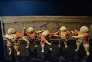 Antique Kamo Kimekomi Small Doll Dancing Suzume Odori Children Meiji Period
