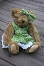 "Vermont Teddy Bear 14"" Granny Glasses Floral Dress Pinafore Petticoat Bow Plush"