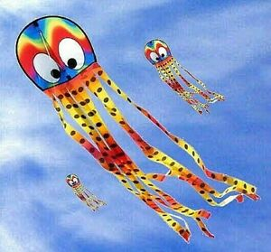 Octopus Kites 2x 'Squeaky' COMBO Easy No assembly. 'Wavy Gradient' + 'Mustache'