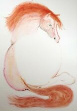 """William Papas """"Resting Filly"""" Hand Signed Art Color Etching horse equine, OBO!"""