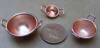 1:12 Three Victorian Copper Bowls Dolls House Miniature Food Kitchen Accessory