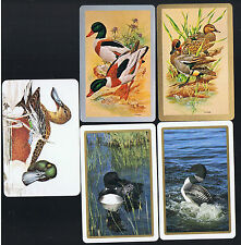 Playing Swap Cards  5  VINT AWESOME   DUCKS   SWIMMING  SIGNED  PAIR  W310