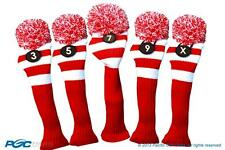 NEW 3 5 7 9 X RED WHITE KNIT VINTAGE golf clubs Headcover Head covers Set RETRO