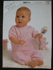 """Peter Pan Knitting Pattern: Baby Sweater, 4ply, 16-22"""", P525"""