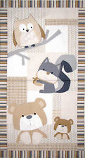 "Nursery Forest Animals Bear Owl Cotton Fabric Timeless Treasures C2317 24"" PANEL"