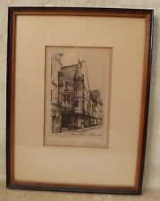 listed artist LEOPOLD ROBIN 1877-1939 France Etching Paris Hotel Herouet