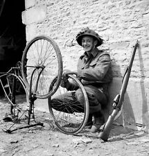WW2 Photo WWII  Canadian Trooper Bicycle Normandy June 44 World War Two   / 1515