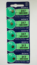 5 SONY 317 SR516SW Silver Oxide Watch Battery Made in Japan EXP. DATE 07-2019