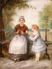 ANTONY SERRES (1828-1898) SIGNED FRENCH OIL - MOTHER & CHILD LUXEMBOURG GARDENS