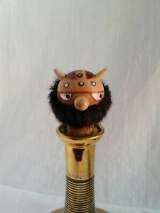 Vintage Primitive Viking Head Wooden Wine Bottle Stopper Cork ☆