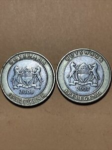 Botswana 5 Pulas 2 diff dates Current Circulated Bimetallic Coin - 2000, 2007