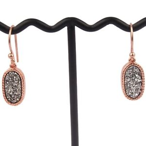 Gray Real Titanium Coated Drusy Rose Gold Plated Girls Party Wear Drop Earrings