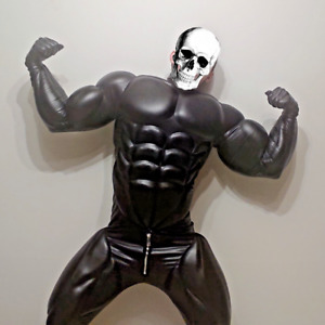 Fetish muscle suit / costume for cosplay, play, faux black leather suit, wear