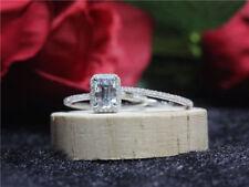 2.50ct Emerald Cut Diamond Halo Bridal Set Engagement Ring 14K White Gold Over