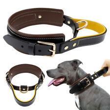 Heavy Duty Real Leather Training Dog Collar with Padded Handle Quick Control M L