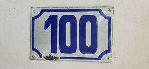 Genuine ISRAELI vintage enamel porcelain house number 100 street House sign #100