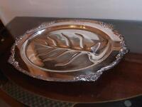 Vintage,....  Wonderful Silver Serving Tray .. Oval.. Beautiful...Very Nicel