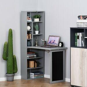 Folding Desk Fold Away Computer Table Office Workstation Grey with Blackboard