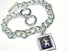 Genuine, Wedgwood Square Cameo On Silver Plated Chain Link Bracelet